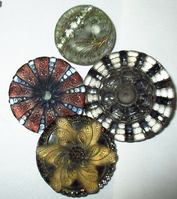 LOT of 4 FABULOUS ANTIQUE VICTORIAN LACY GLASS BUTTONS - MED. & LG ALL PERFECT!
