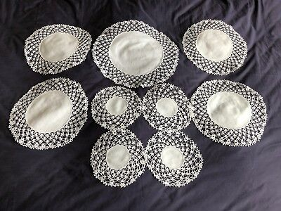 Set 9 Matching Beautiful Vintage Victorian Style Doilies Hand Crocheted Edgings