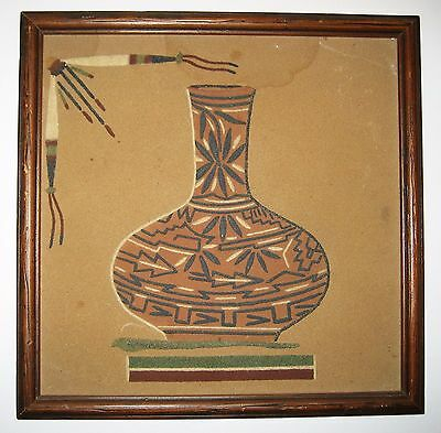 Signed Framed Sand Painting Pottery LORENE TOLEDO Cuba New Mexico Navajo Artist