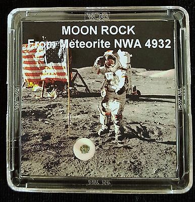 AUTHENTICATED LUNAR METEORITE- Deluxe 12mg Moon Rock & Art Display with Easel  f