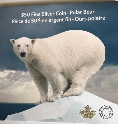 2014 $50 Polar Bear, Canadian $50 for $50 Silver Series Coin, New, Proof Matte
