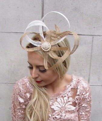 d9fc7866de9c7 Gold Ivory White Cream Sinamay Fascinator Headband Races Hair Band Vtg 4537