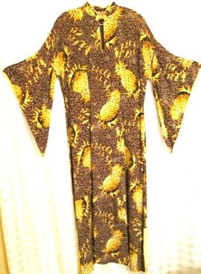 Vintage Hawaiian Silky 40s Long Collectors Brown Yellow Pineapple Dress