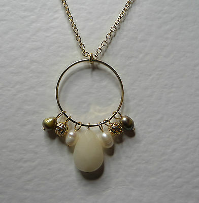 "WHITE AGATE & FWP PEARL DANGLY HOOP NECKLACE GOLD PLATED 18"" 45 cm + EXT"