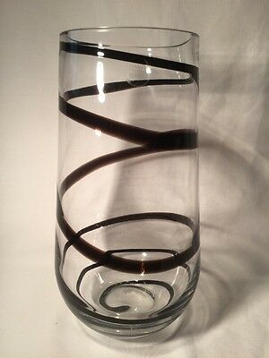Clear Art Glass Vase With Coloured Stripe Pattern (ref W604)
