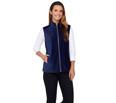 Susan Graver Weekend Knit Corduroy Zip Front Collar Vest Sapphire M NEW A269778