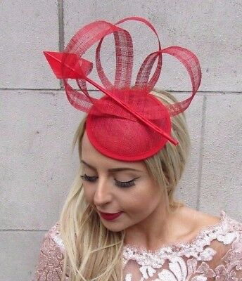 Red Sinamay Statement Feather Pillbox Hat Fascinator Formal Ascot Races 4543