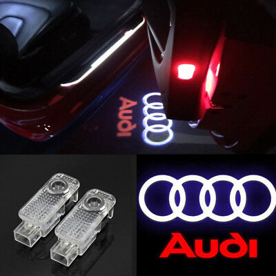 2Pcs For Audi A4 A6 A8 Q7 LED Car Door Logo Welcome Shadow Light Courtesy Laser
