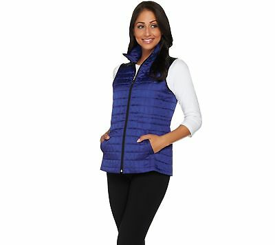 Susan Graver Weekend Lightweight Zip Quilted Vest Patriot Blue XL NEW A278900
