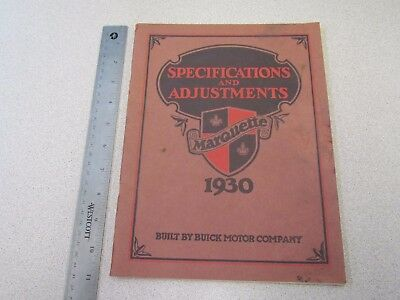Vintage 1930 Buick Marquette Specifications & Adjustments Book / Manual