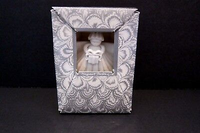 """1991 Margaret Furlong 3"""" Angel With Gift Bisque Shell Ornament Mint In Box"""