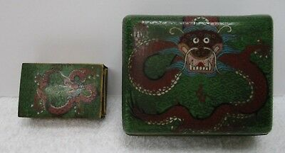 OLD CHINESE GREEN CLOISONNE (on Brass) CIGARETTE BOX Matchbox DRAGON ENAMEL