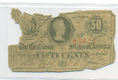 Authentic 1864 Fifty Cent Fractional Confederate Note Csa Civil War