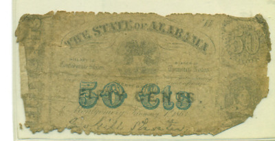 Authentic 1863 State Of Alabama Fifty Cent Fractional Note Csa Civil War
