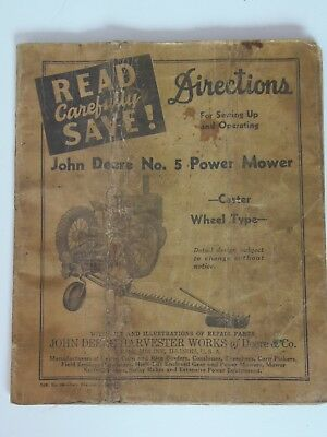 Original 1920's John Deere No 5 Power Mower Operating Manual Caster Wheels