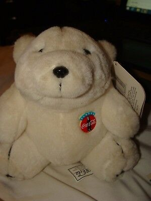 "Coca Cola Collectible Coke Plush Polar Bear 1993 tags 7"" tall CUTE!"