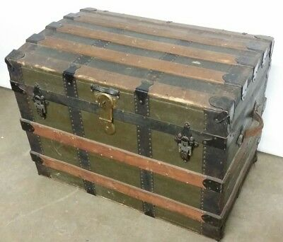 Antique Victorian Steamer Trunk Coffee Table with Key & 2 Tray Tills, Wilmot NH