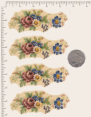 "4 x Waterslide ceramic decals Decoupage Flowers Floral 4 1/2"" x 1 3/4"" PD816"