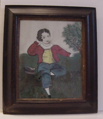 Antique 19th Century Primitive Charcoal Painting of Young Boy in Reverse Ogee