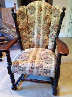 Lovely Antique Hardwood Chair: Beautiful Wood Carving and Flowered Upholstering