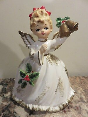 VINTAGE 50's NAPCOWARE X-6966 CHRISTMAS ANGEL GIRL FIGURINE PLANTER BELLS HOLLY