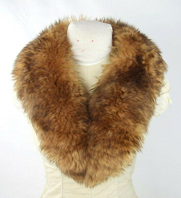 Vtg Luxe Reddish Brown Faux Fur Stitch On Retro Jacket Coat Collar Womens 36""