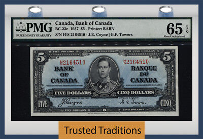 "TT BC-23c 1937 CANADA BANK OF CANADA 5 DOLLARS ""KING GEORGE VI"" PMG 65 EPQ GEM!"