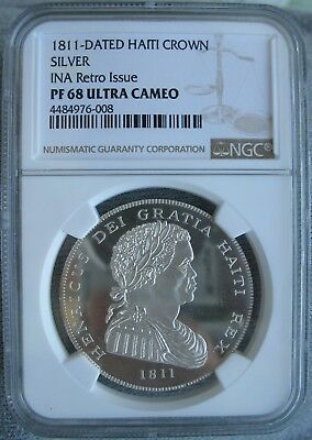 1811-DATED HAITI SILVER CROWN NGC PF-68 Ult. Cameo INA Retro Issue