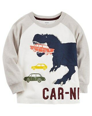 New Carter's Car Nivore Dinosaur Eats Car Top NWT 2t 3t 4t 5t 5 6 7 8 Boys t rex