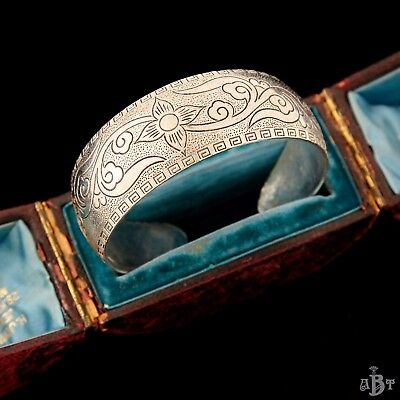 Antique Vintage Deco Sterling Silver Plated Chinese Greek Key Leaf Cuff Bracelet