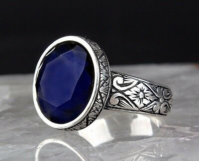 Turkish Handmade 925 S.Silver SPECIAL Sapphire Mens Ring Sz 11 us Fr. Resize