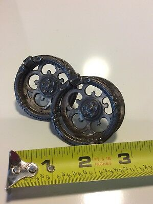 Antique nickel plated brass ring drop pulls- set of 2