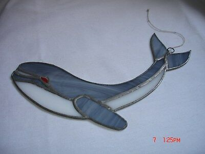"Stained Glass and Metal Whale Wall Window Hanging 10"" long"