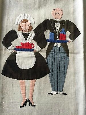 Vintage novelty tea towel - BUTLER AND MAID - with attitude.  COLLECT
