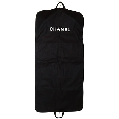 New Authentic Chanel Large Black Canvas Travel Garment Bag For Coats & Dresses