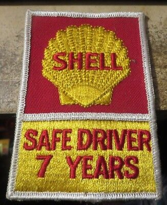 vintage unused Shell Oil co cloth clothing patch Safe Driver 7 years