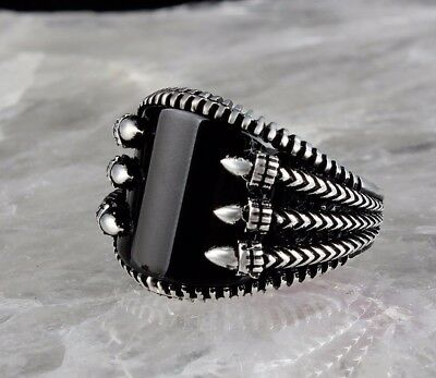 925 Sterling Silver Turkish Handmade SPECIAL Onyx Mens Ring Sz 11 us FR.RESIZE