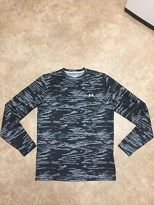 NWOT Mens L Under Armour Coldgear Printed Black/Gray Crew Fitted LS Shirt $59.99