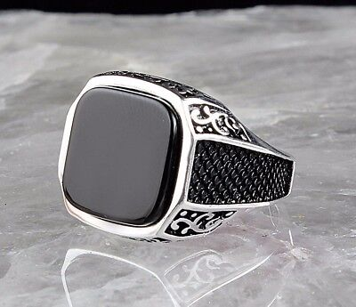 925 Sterling Silver Turkish Handmade SPECIAL Onyx Mens Ring Sz 9.5 us fr.resize