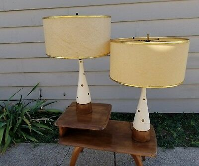 Pair of Mid Century Modern Teak and Plaster Polka Dot Lamps with Drum shades
