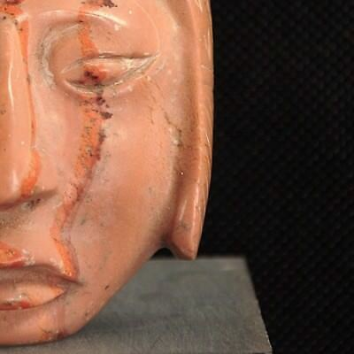 Vintage Polished Rhodonite Stone Pendant Mask Sculpture in the Style of the Maya