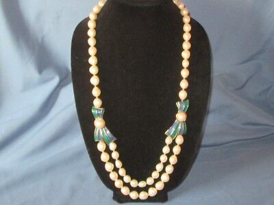 Signed TRIFARI Gold-Tone Metal Faux Pearl Green Blue Enamel Necklace