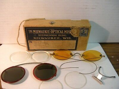 2 PAIRS ANTIQUE COLORED LENS SPECTACLES / SUNGLASSES WITH BOX-Not prescription