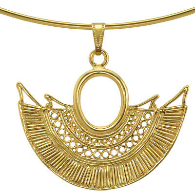 ACROSS THE PUDDLE Omega Necklace with a Pre-Columbian Sinu Nose Ring Pendant