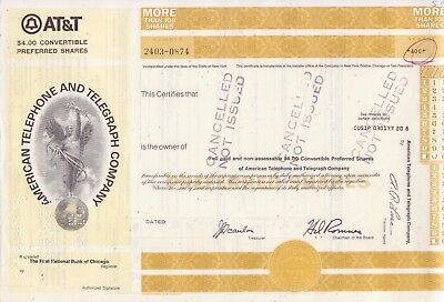 2 different American Telephone and Telegraph Co stock certificates w/ angel vig