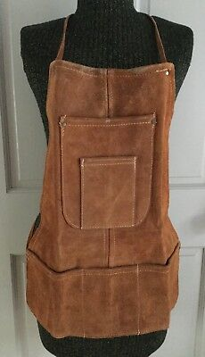 Vintage Heavy Tan Bib Leather Apron Work Shop Thick Size Small