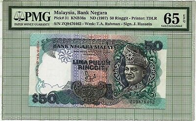 Malaysia  1986-1995 6th Series $50 Ringgit PMG65 GEM UNC Paper Banknote