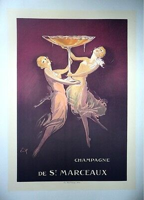 Original Vintage Champagne Poster on Linen, Food and Wine