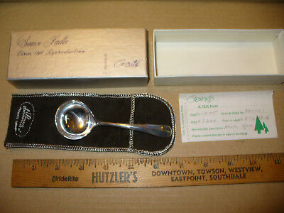 """GERITY SILVER PLATE Circa 1740 Reproduction Sauce Ladle 4.75"""" Stewarts Baltimore"""