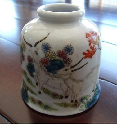 Antique Chinese Porcelain Famille Rose Water Pot~Signed Daoguang~Three Ram~Brush